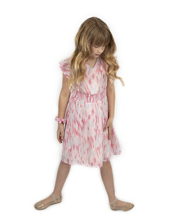 Платье для больших девочек с металлизированным принтом и подходящей резинкой для волос Emerald Sundae