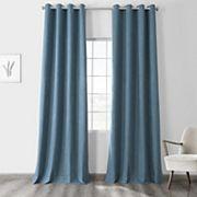 EFF Vintage Thermal Cross Linen Weave Max Blackout Window Curtain EFF