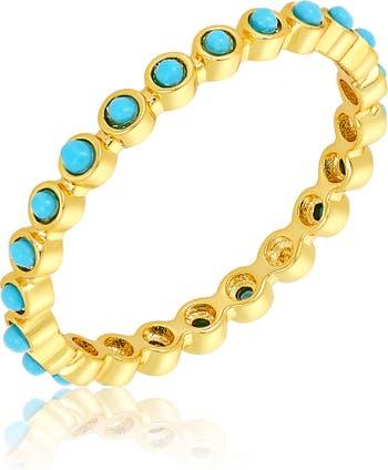 Кольцо Eternity с кабошоном из 14-каратного золота с имитацией бирюзы ADORNIA