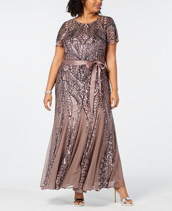 Платье Godet большого размера с блестками R & M Richards