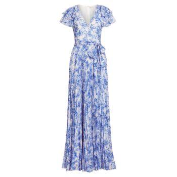 Плиссированное макси-платье с рукавами-крылышками ML Monique Lhuillier