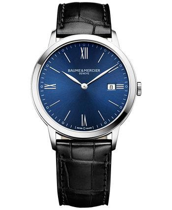 Мужские швейцарские часы Classima с черным кожаным ремешком 40мм M0A10324 Baume & Mercier