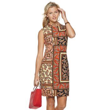 Women's Sharagano Paisley Mockneck Dress Sharagano