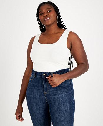 Trendy Plus Size Sleeveless Ribbed Knit Bodysuit, Created for Macy's Nina Parker
