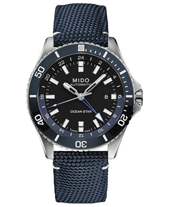 Мужские швейцарские автоматические часы Ocean Star GMT с синим тканевым ремешком, 44 мм MIDO