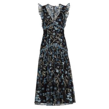 Платье миди в сетку с вышивкой ML Monique Lhuillier