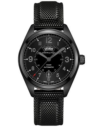 Мужские швейцарские автоматические часы цвета хаки поле с черным резиновым ремешком, 42 мм H70695735 Hamilton