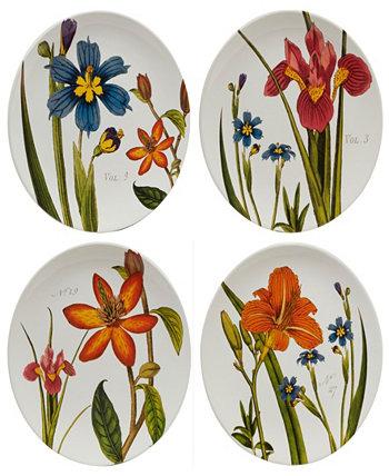 Ботанический цветочный набор из 4 тарелок Certified International