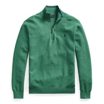 Хлопковый свитер сетчатой вязки на молнии до четверти ig Ralph Lauren