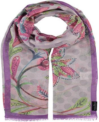 Женский шарф с цветочным узором в горошек V. Fraas