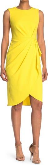 Jewel Neck Faux Wrap Sheath Dress Maggy London