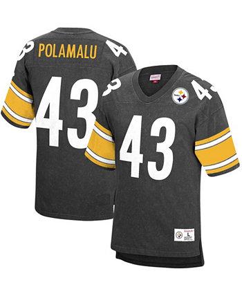 Мужская футболка Troy Polamalu Black Pittsburgh Steelers на пенсии Имя игрока Номер Acid Wash Top Mitchell & Ness
