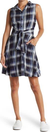 Sleeveless Plaid Print Dress Angie