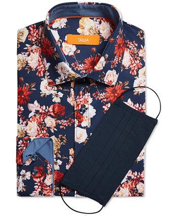 Мужская приталенная классическая рубашка из эластичного материала без железа с цветочным принтом и плиссированной маской для лица Tallia