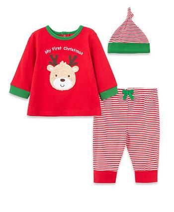 Футболка с оленями для маленьких мальчиков, комплект брюк и кепок Jogger, 3 предмета Little Me