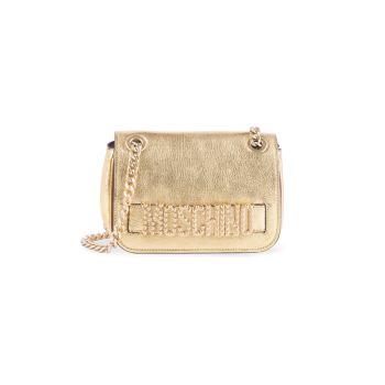 Кожаная сумка через плечо с металлическим логотипом и украшенным логотипом Moschino