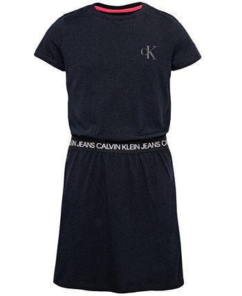 Платье для больших девочек с логотипом на талии Calvin Klein