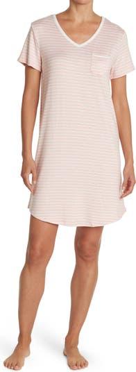 V-Neck Short Sleeve Stripe Print Sleepshirt Carole Hochman