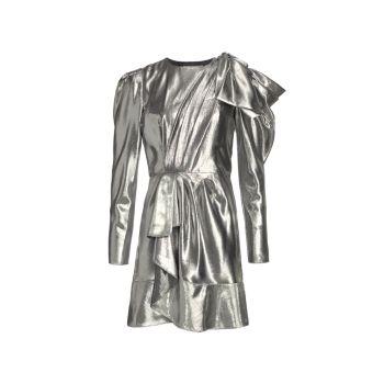 Metallic Shoulder Bow Draped Dress Alberta Ferretti
