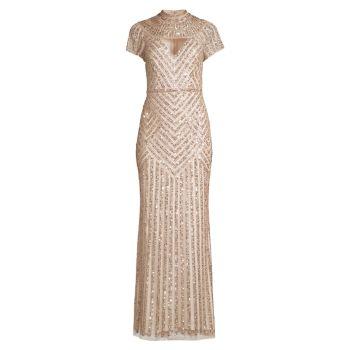 Beaded Cutout Gown Aidan Mattox