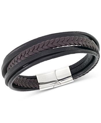 Мужской черный и коричневый кожаный браслет из нержавеющей стали с несколькими рядами LEGACY