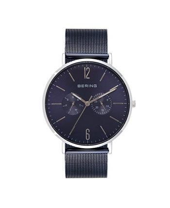 Мужские многофункциональные синие часы с браслетом из нержавеющей стали 40 мм Bering