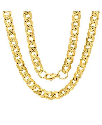 Мужские позолоченные 18k позолоченные ожерелья из нержавеющей стали с акцентом 10 мм, звено цепи Фигаро, 24 дюйма STEELTIME