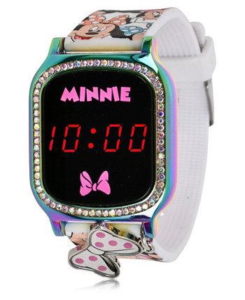 Детские часы с сенсорным экраном Минни Маус, белый силиконовый ремешок, светодиодные часы, с подвесной подвеской, 36 мм x 33 мм ACCUTIME