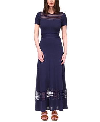 Sheer-Stripe Maxi Dress Michael Kors