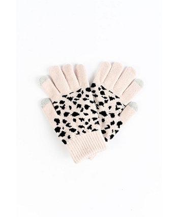 Вязаные перчатки с леопардовым принтом для сенсорного экрана и уютной подкладкой Marcus Adler