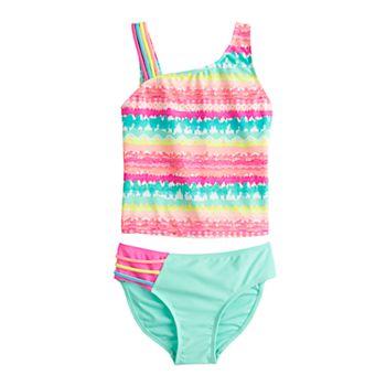 Girls 4-16 SO® One Shoulder Rainbow Tankini & Bottoms Swimsuit Set SO