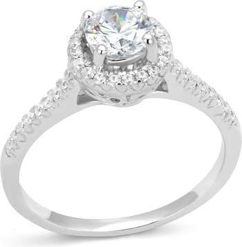 Обручальное кольцо с родиевым покрытием CZ Halo с родиевым покрытием Covet