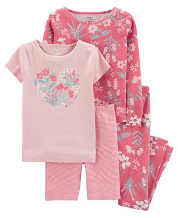 Хлопковая пижама с цветочным рисунком для маленьких девочек, комплект из 4 предметов Carter's