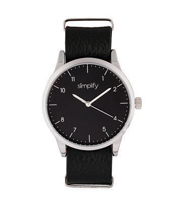 Кварц The 5600 черный циферблат, часы из натуральной черной кожи 40 мм Simplify