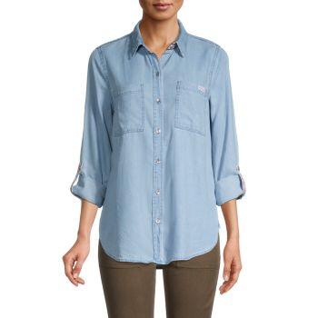 Джинсовая рубашка с тесьмой и логотипом Chambray Tencel Lyocell Calvin Klein Jeans