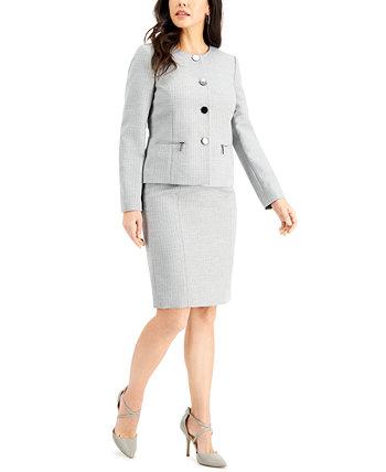 Костюм с металлической твидовой юбкой Le Suit