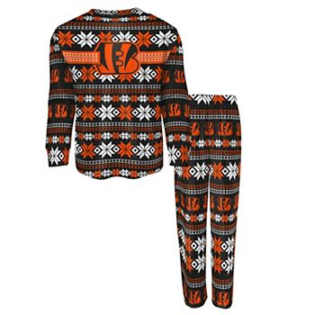 Youth Black Cincinnati Bengals Holiday Long Sleeve T-Shirt & Pants Pajama Set Outerstuff