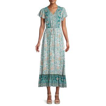 Платье миди в стиле бохо с завязкой на талии STELLAH