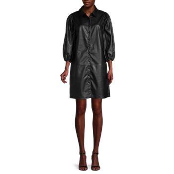 Платье-рубашка из искусственной кожи с объемными рукавами Avec Les Filles