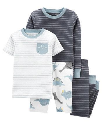 Полосатая хлопковая пижама с динозавром в полоску для маленьких мальчиков, комплект из 4 предметов Carter's