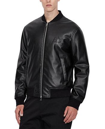 Мужская черная куртка-бомбер из искусственной кожи Armani Exchange