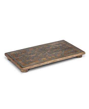18-дюймовая прямоугольная подставка из коллекции Heritage с инкрустацией из дерева и металла The GG Collection