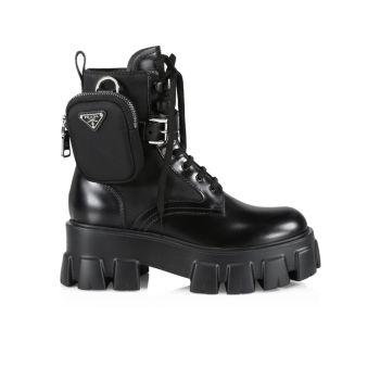 Монолитная кожа & amp; Нейлоновые армейские ботинки с выступами на подошве Prada