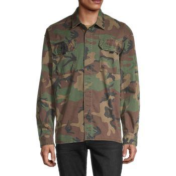 Long-Sleeve Camo-Print Shirt Hudson