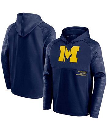 Мужская темно-синяя толстовка с капюшоном с капюшоном и регланом Defender Team Michigan Wolverines Fanatics