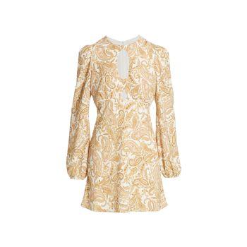 Мини-платье Channing Paisley с замочной скважиной WAYF