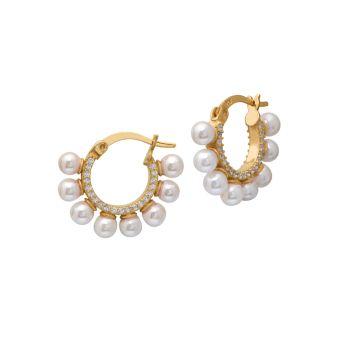 Золото 22K Vermeil, кубический цирконий и amp; Круглые серьги-кольца с пресноводным жемчугом 4 мм Gabi Rielle