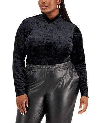 Trendy Plus Size Crushed Velvet Bodysuit FULL CIRCLE TRENDS