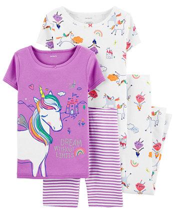 Маленькие девочки 4 шт. Комплект пижамы единорога Carter's
