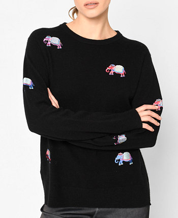 Cashmere Elephant Embroidery Sweater Nicole Miller